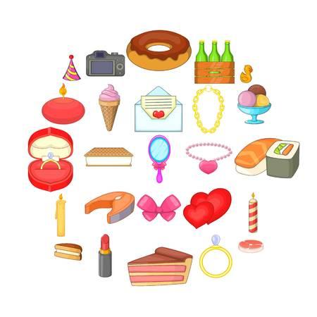Conjunto de iconos de cumpleaños. Conjunto de dibujos animados de 25 iconos de vector de cumpleaños para web aislado sobre fondo blanco