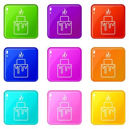 Empanadas icons set 9 collection couleur isolée sur blanc pour toute conception