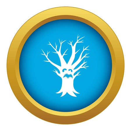 Scary tree icon blue vector isolated on white background for any design Vector Illustration