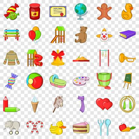 Children icons set, cartoon style Illustration