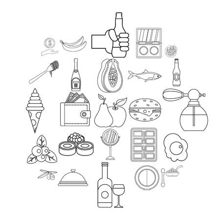 Restaurant icons set. Outline set of 25 restaurant vector icons for web isolated on white background