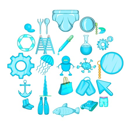 Ship things icons set. Cartoon set of 25 ship things vector icons for web isolated on white background Иллюстрация
