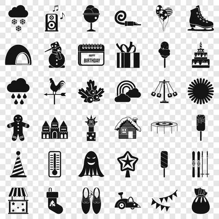 Children holiday icons set. Simple style of 36 children holiday vector icons for web for any design Stock Illustratie
