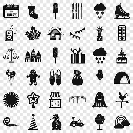 Nice party icons set. Simple style of 36 nice party vector icons for web for any design Stock Illustratie