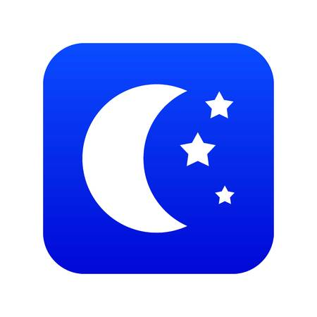 Moon and stars icon digital blue for any design isolated on white vector illustration