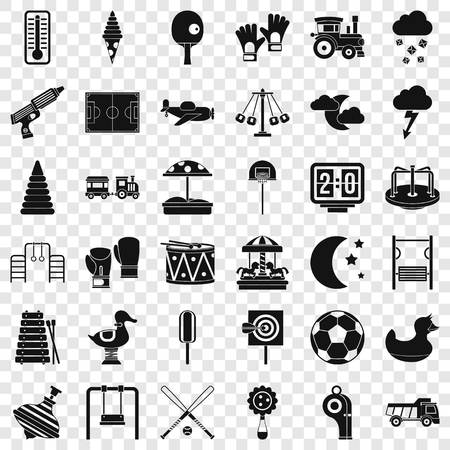 Playground for children icons set. Simple style of 36 playground for children vector icons for web for any design