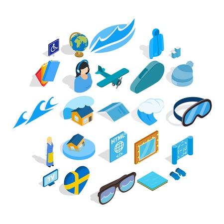 Blue icons set. Isometric set of 25 blue vector icons for web isolated on white background