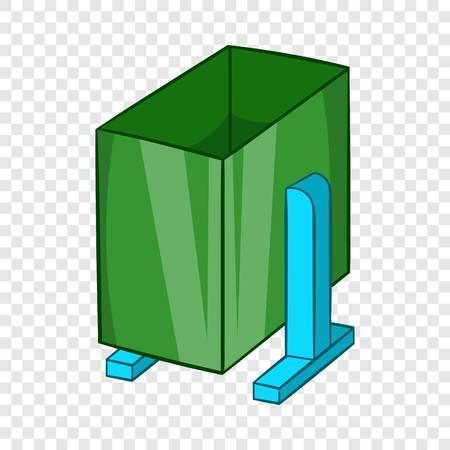 Green trash on legs icon, cartoon style