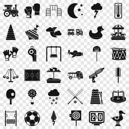 Small playground icons set, simple style