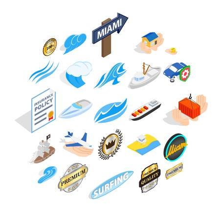 Rest on the sea icons set. Isometric set of 25 rest on the sea vector icons for web isolated on white background Иллюстрация