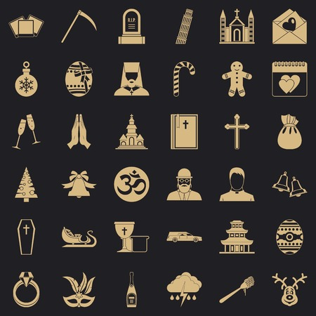 Temple icons set, simple style