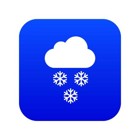 Cloud and snowflakes icon digital blue for any design isolated on white vector illustration