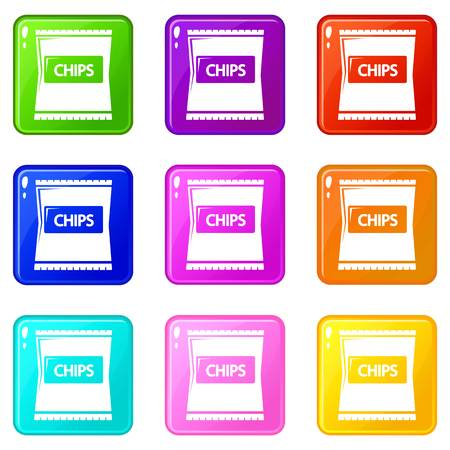 Chips icons set 9 color collection isolated on white for any design Иллюстрация