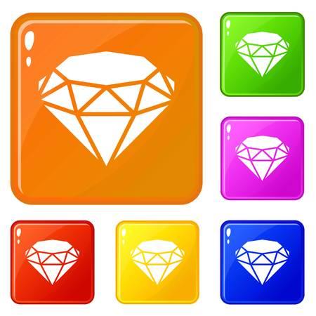 Diamond icons set vector color