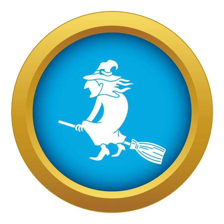 Witch on broom icon blue vector isolated on white background for any design Banque d'images - 124576722