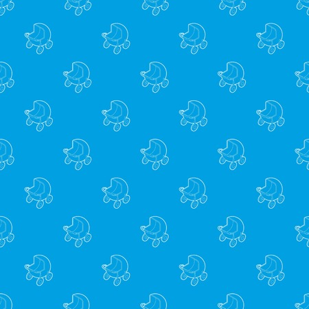 Baby carriage pattern vector seamless blue repeat for any use Illustration
