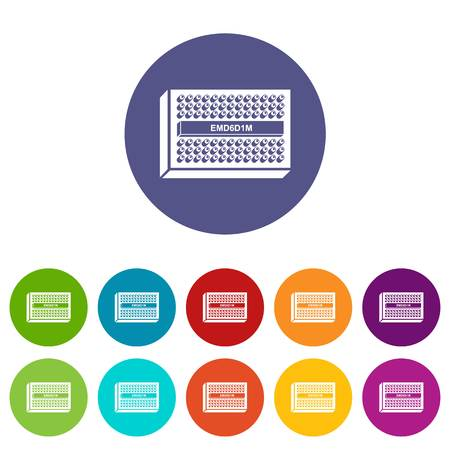 Microchip icons color set vector for any web design on white background