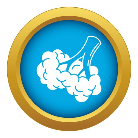 Broccoli food icon blue vector isolated