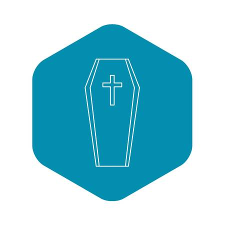 Coffin icon, outline style Çizim