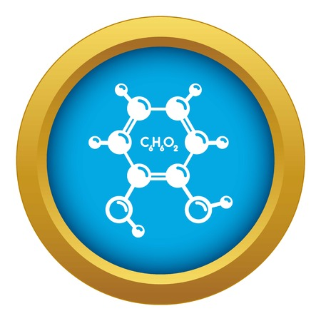 Catechol molecule icon blue vector isolated on white background for any design