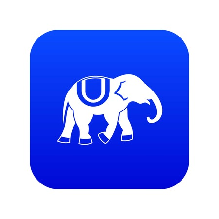 Elephant icon digital blue for any design isolated on white vector illustration