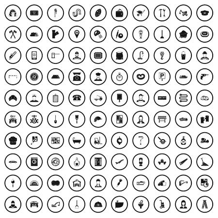 100 working professions icons set in simple style for any design vector illustration