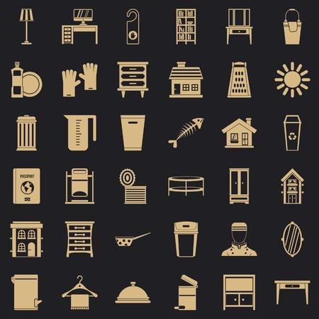Cleaning home icons set, simple style Illusztráció