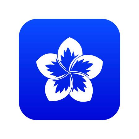 Frangipani flower icon digital blue for any design isolated on white vector illustration Illustration