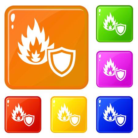 Fire protection icons set collection vector 6 color isolated on white background