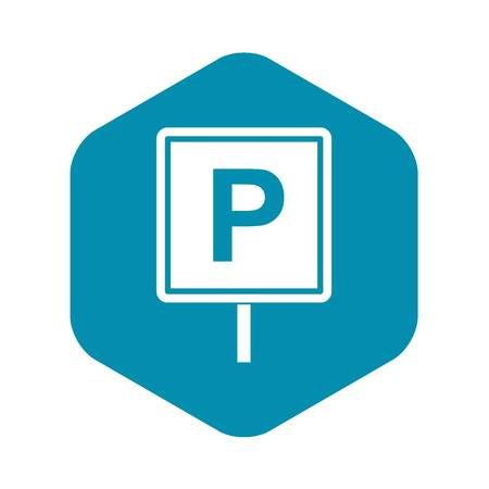 Parking sign icon in simple style isolated on white background