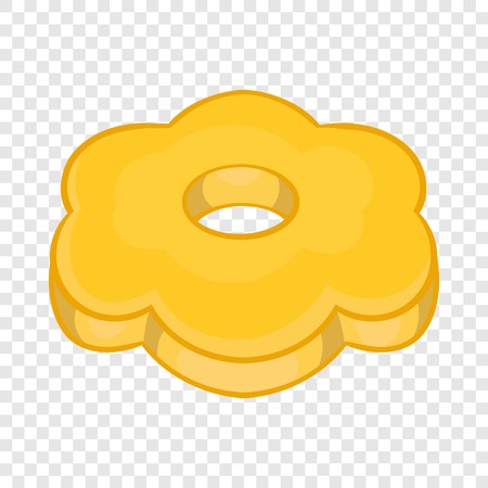 Cookie flower shaped icon, cartoon style
