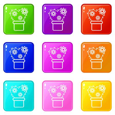 Heart cactus icons set 9 color collection isolated on white for any design Ilustração