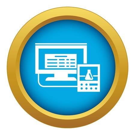 Lab digital monitor icon blue vector isolated on white background for any design Ilustração