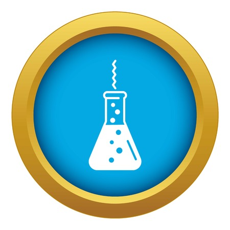 Chemistry flask factory icon blue vector isolated on white background for any design