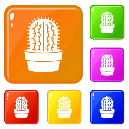 Echinocereus icons set vector color