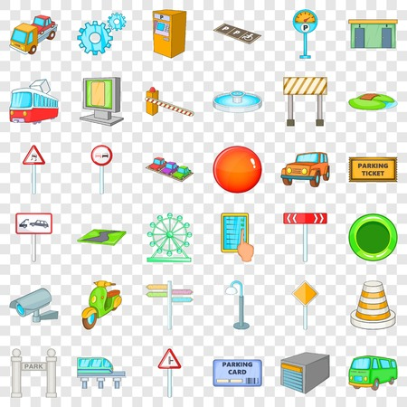 City pointer icons set, cartoon style