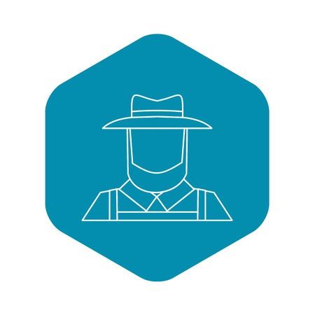 Farmer icon. Outline illustration of farmer vector icon for web design