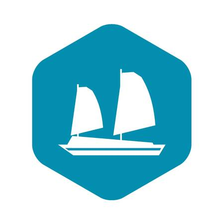 Vietnamese junk boat icon in simple style isolated vector illustration. Shipbuilding symbol
