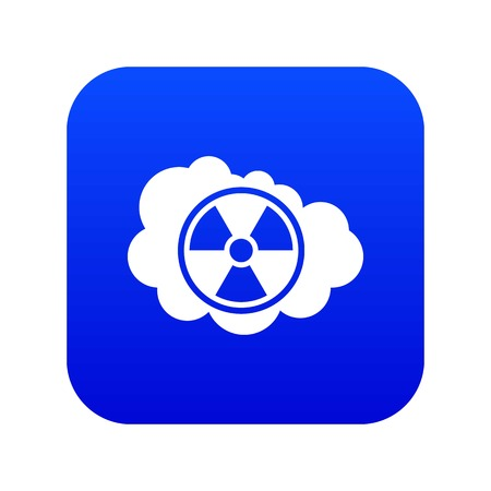 Cloud and radioactive sign icon digital blue for any design isolated on white vector illustration Ilustrace