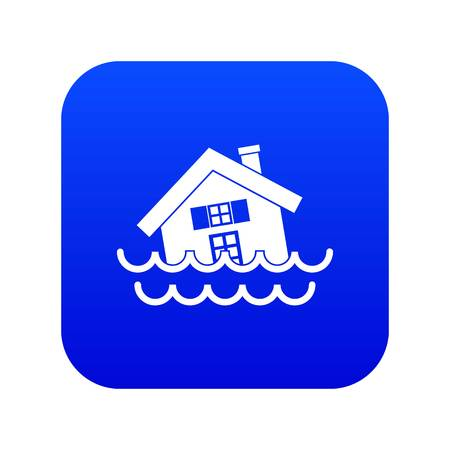 House sinking in a water icon digital blue for any design isolated on white vector illustration