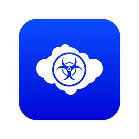 Cloud with biohazard symbol icon digital blue for any design isolated on white vector illustration