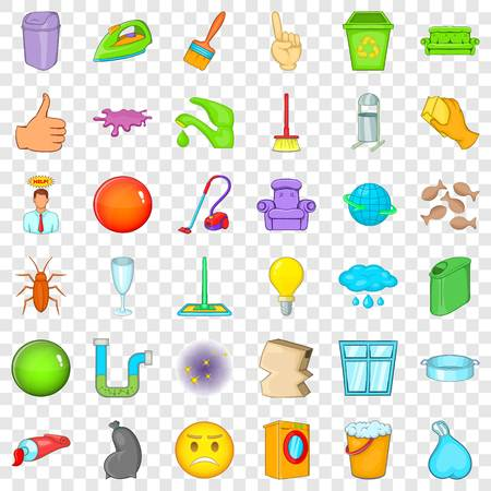 Big cleaning icons set, cartoon style