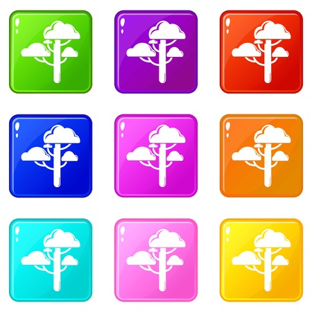 Cloud tree icons set 9 color collection isolated on white for any design