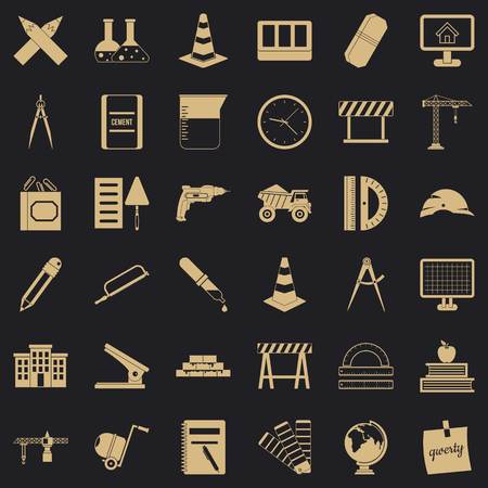 Equipment icons set, simple style