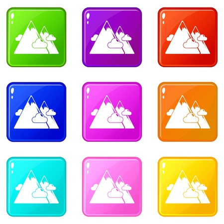 Mountains icons set 9 color collection isolated on white for any design