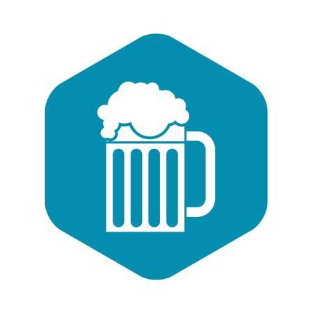 Beer mug icon, simple style