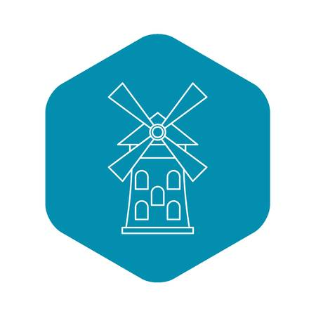 Windmill icon, outline style