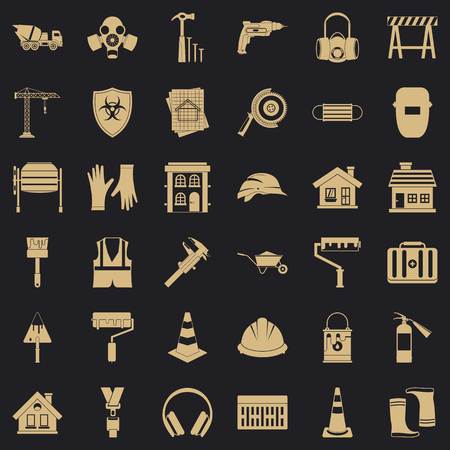 Construction bulldozer icons set, simple style Vetores