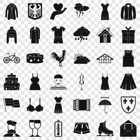 Clothing accessories icons set, simple style Stock Illustratie