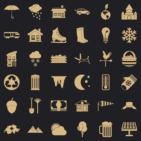 Country house icons set, simple style
